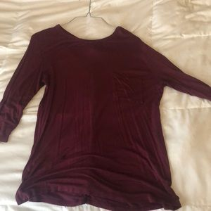 maroon quarter sleeve t shirt with back cut outs